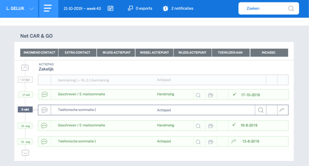 Actielijsten_Credit management software